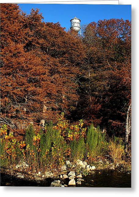 Blue Green Water Greeting Cards - Autumn in Gruene Greeting Card by Judy Vincent