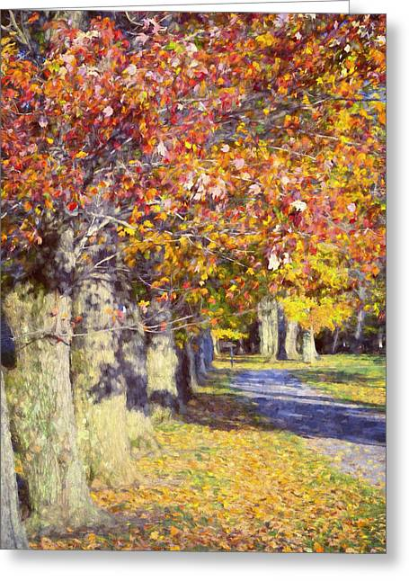 Franklin Roosevelt Greeting Cards - Autumn in Hyde Park Greeting Card by Joan Carroll