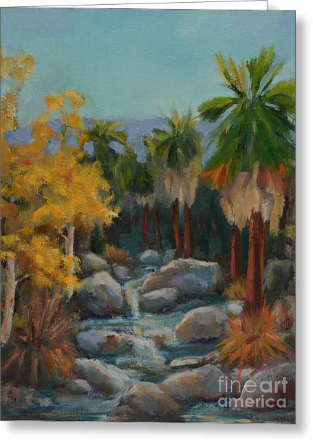 Tree In Rock Greeting Cards - Indian Canyon After the Rain Greeting Card by Maria Hunt