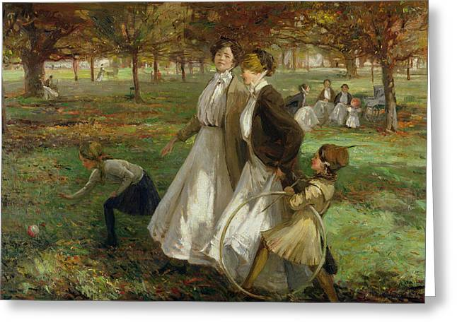 Public Greeting Cards - Autumn In Kensington Gardens Greeting Card by James Wallace