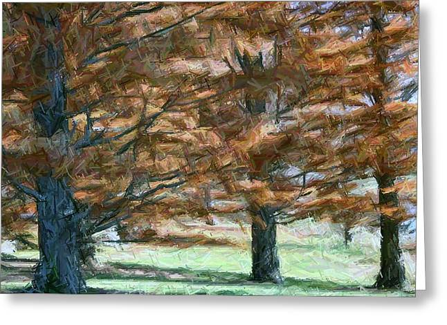 Seasonal Tapestries - Textiles Greeting Cards - Autumn in Kentucky-Bernheim Greeting Card by Thia Stover