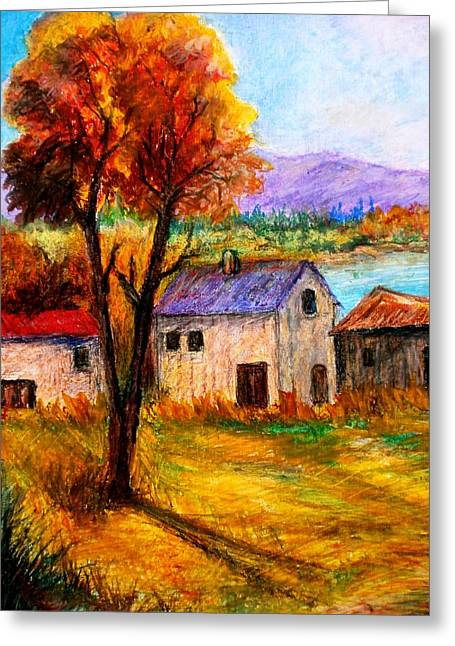 Landscape Framed Prints Pastels Greeting Cards - Autumn in lake Prespa Greeting Card by Constantinos Charalampopoulos