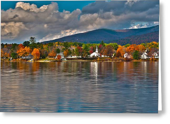 Best Sellers -  - New England Village Greeting Cards - Autumn in Melvin Village Greeting Card by Brenda Jacobs