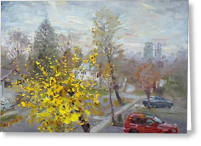 Autumn Landscape Paintings Greeting Cards - Autumn in Mississauga  Greeting Card by Ylli Haruni
