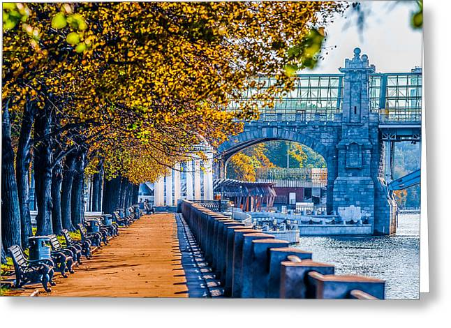 Parapet Greeting Cards - Autumn In Moscow Gorky Park Greeting Card by Alexander Senin