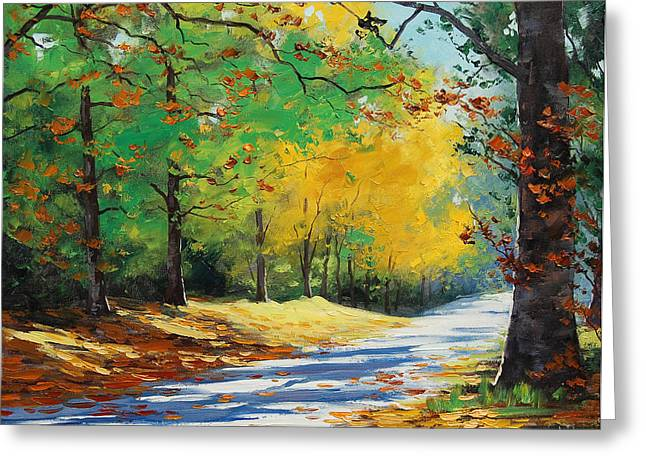 Calm Paintings Greeting Cards - Autumn in Mt Wilson Greeting Card by Graham Gercken