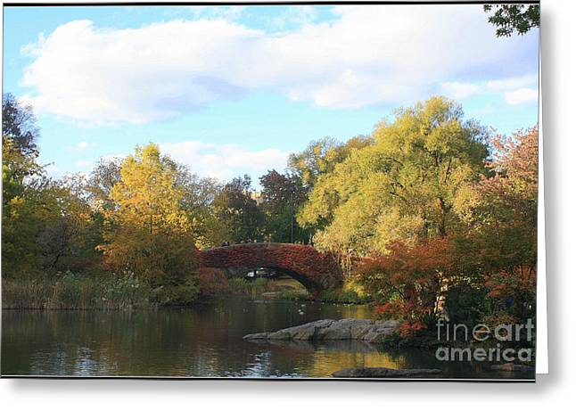 Reflections Of Sky In Water Greeting Cards - Autumn in New York Greeting Card by  Photographic Art and Design by Dora Sofia Caputo
