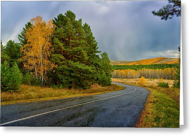 Road Travel Greeting Cards - Autumn in Russia Greeting Card by Mountain Dreams