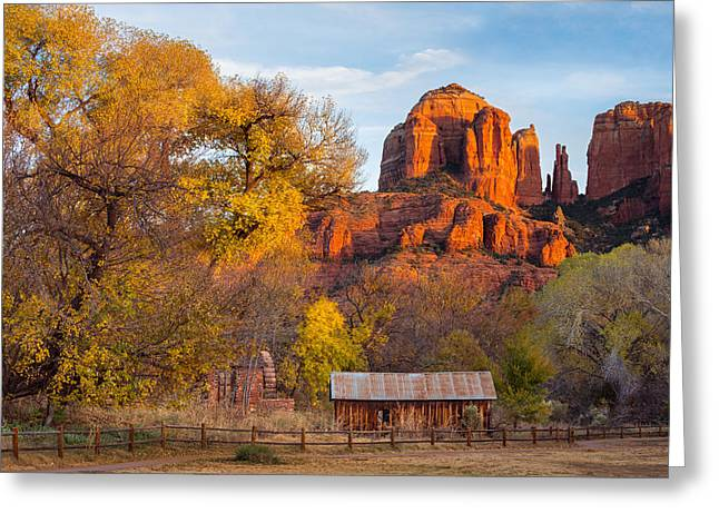 Cathedral Rock Greeting Cards - Autumn in Sedona Greeting Card by Adam  Schallau