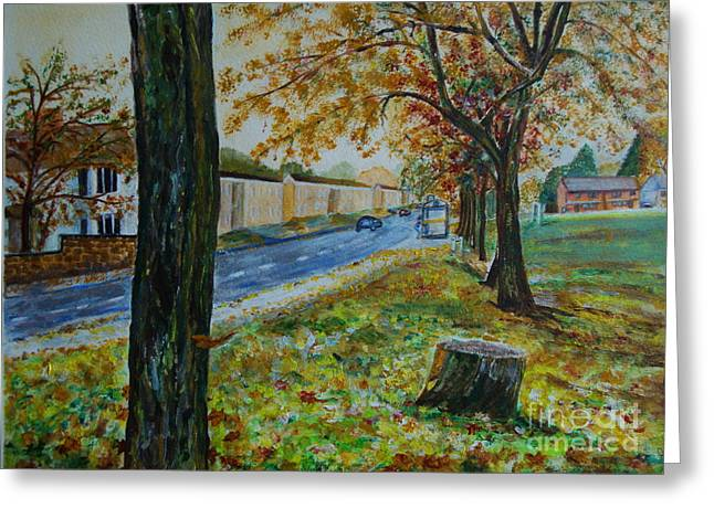 Veronica Rickard Greeting Cards - Autumn in South Road - painting Greeting Card by Veronica Rickard