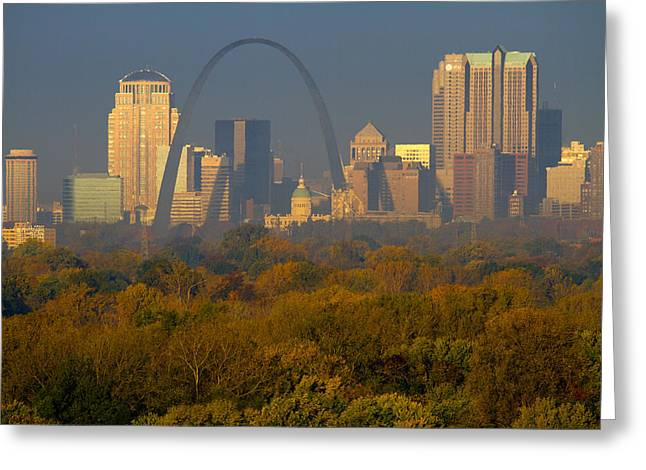 Skyline Pyrography Greeting Cards - Autumn in St Louis Greeting Card by Garry McMichael