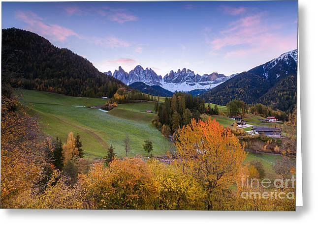 Italian Sunset Greeting Cards - Autumn in the Dolomites mountains - Italy Greeting Card by Matteo Colombo