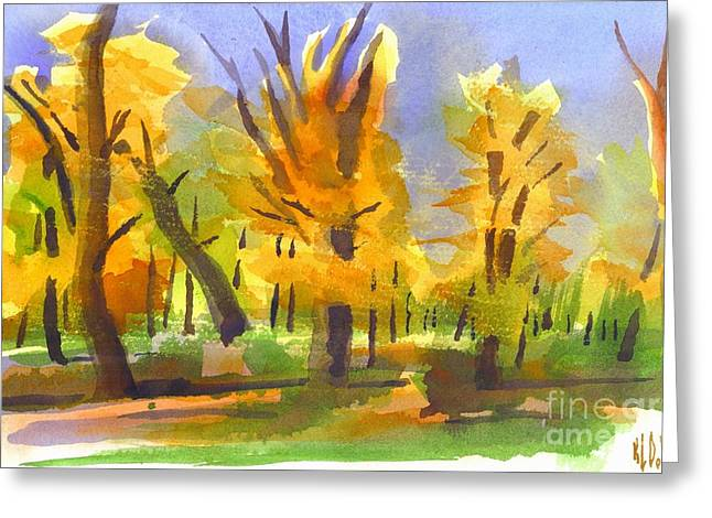 Fire In The Wood Greeting Cards - Autumn in the Forest Greeting Card by Kip DeVore