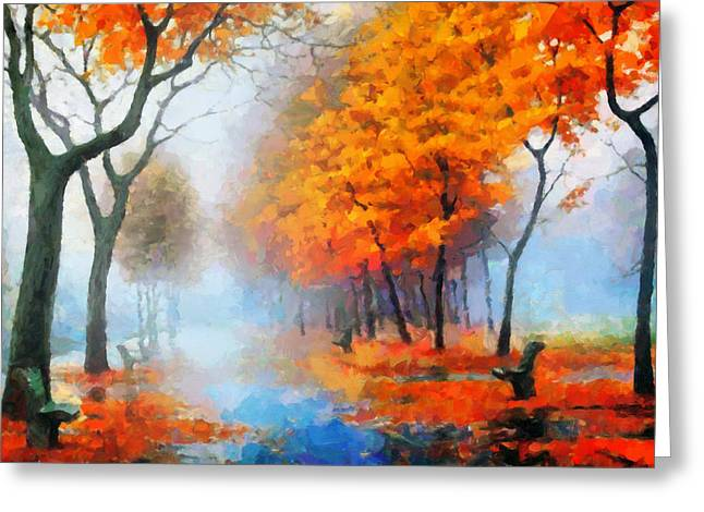 Haze Mixed Media Greeting Cards - Autumn In The Morning Mist Greeting Card by Georgiana Romanovna