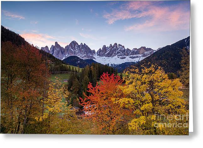 Italian Sunset Greeting Cards - Autumn in the mountains - Dolomites - Italy Greeting Card by Matteo Colombo
