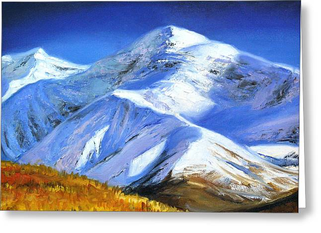 First Snow Drawings Greeting Cards - Autumn in the mountains Greeting Card by Tatyana Myasnikova