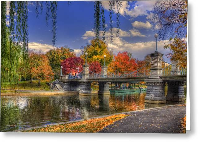 Pond In Park Greeting Cards - Autumn in the Public Garden - Boston Greeting Card by Joann Vitali