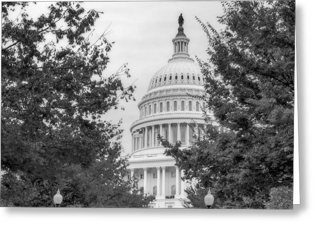 U.s. Capitol Greeting Cards - Autumn In The US Capitol BW Greeting Card by Susan Candelario