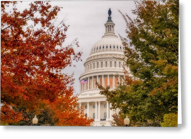 U.s. Capitol Greeting Cards - Autumn In The US Capitol Greeting Card by Susan Candelario