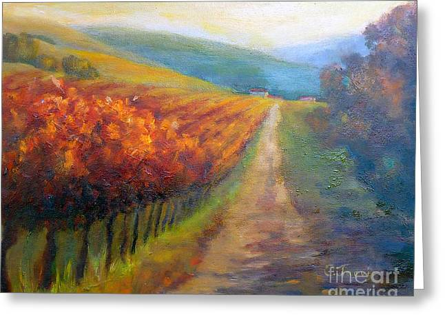 California Vineyard Paintings Greeting Cards - Autumn in the Vineyard Greeting Card by Carolyn Jarvis