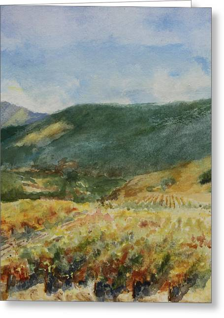 Autumn In The Country Greeting Cards - Laboring in the Vineyards  Greeting Card by Maria Hunt