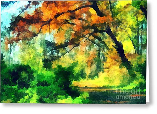 Autumn in the woods Greeting Card by Odon Czintos