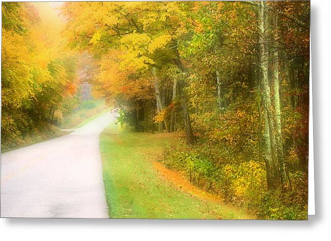 Autumn Road Fractal Greeting Cards - Autumn in Virginia Greeting Card by Katie Wing Vigil