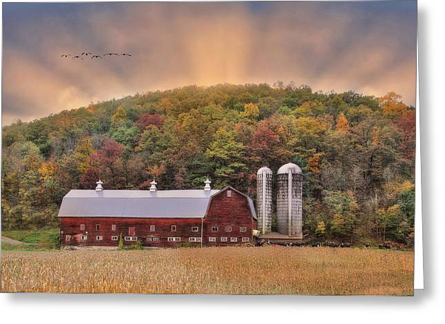 Dairy Barn Greeting Cards - Autumn in Wellsboro Greeting Card by Lori Deiter