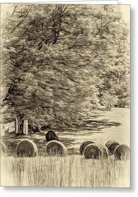 Metal Sheet Greeting Cards - Autumn in West Virginia - Paint sepia Greeting Card by Steve Harrington