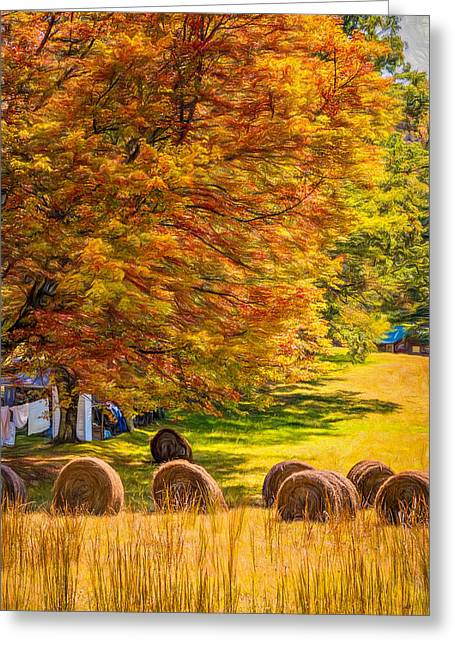 Metal Sheet Greeting Cards - Autumn in West Virginia - Paint Greeting Card by Steve Harrington