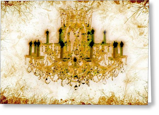 Sepia Chandeliers Greeting Cards - Autumn is here Greeting Card by Lilia D
