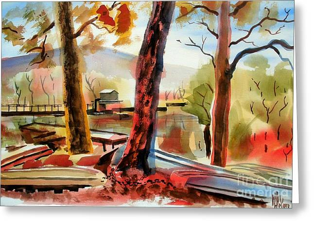 Autumn Scenes Greeting Cards - Autumn Jon Boats I Greeting Card by Kip DeVore