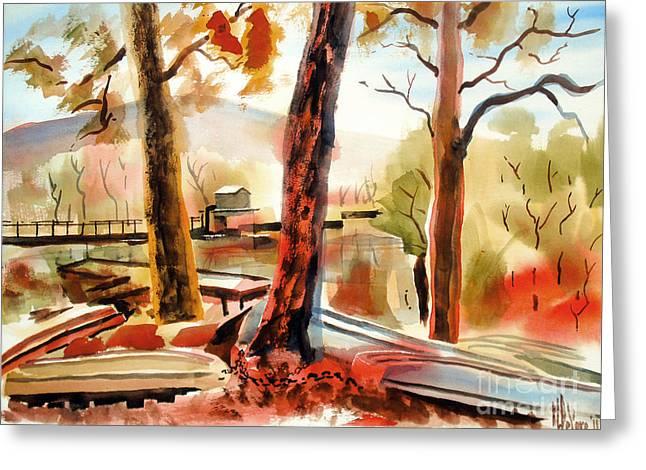 Autumn Scenes Greeting Cards - Autumn Jon Boats II Greeting Card by Kip DeVore