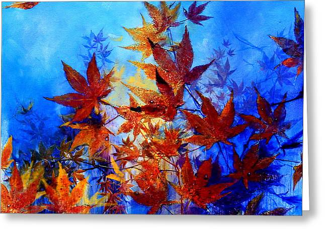 Blue And Purple Abstract Greeting Cards - Autumn Joy Greeting Card by Hanne Lore Koehler