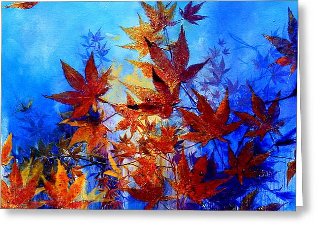 Trees In Autumn Greeting Cards - Autumn Joy Greeting Card by Hanne Lore Koehler