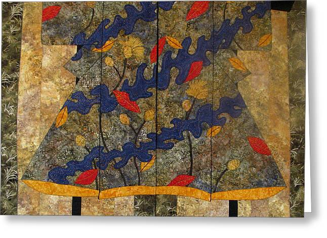Lynda Boardman Art Tapestries - Textiles Greeting Cards - Autumn Kimono diptych Greeting Card by Lynda K Boardman