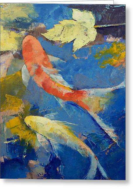 Koi Pond Greeting Cards - Autumn Koi Garden Greeting Card by Michael Creese