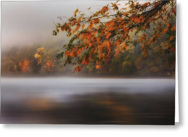 Reflections In River Greeting Cards - Autumn Lake Greeting Card by Bill  Wakeley