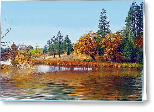 Paint Photograph Greeting Cards - Autumn Lake In The Woods Greeting Card by Joyce Dickens