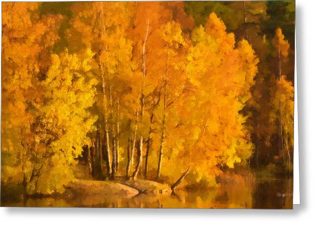 Fall Trees Greeting Cards - Autumn Lake Greeting Card by Lutz Baar