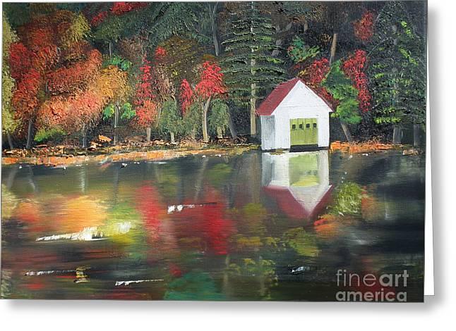 Autumn - Lake - Reflecton Greeting Card by Jan Dappen