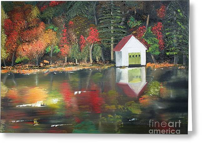 Mountain Cabin Greeting Cards - Autumn - Lake - Reflecton Greeting Card by Jan Dappen
