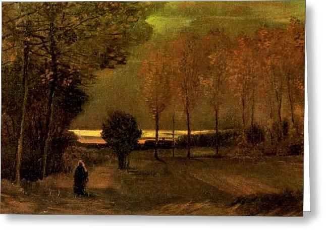 Autumn Landscape At Dusk 1885 Greeting Card by Vincent Van Gogh