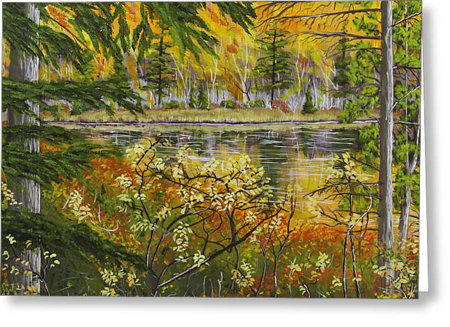 Maine Landscape Paintings Greeting Cards - Autumn Landscape in Kennebec Highlands of Maine Greeting Card by Keith Webber Jr