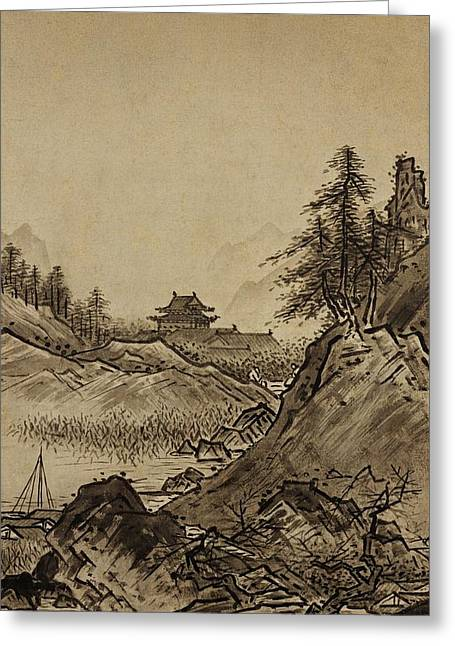 Lake House Drawings Greeting Cards - Autumn Landscape Sesshu Toyo 1496 Greeting Card by Movie Poster Prints
