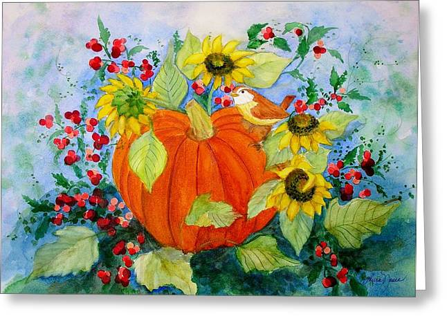 Harvest Time Greeting Cards - Autumn Greeting Card by Laura Nance