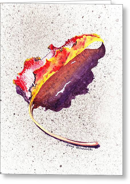 Occasion Paintings Greeting Cards - Autumn Leaf on Fire Greeting Card by Irina Sztukowski