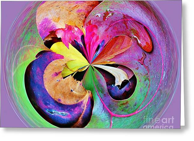 Abstract Water And Fall Leaves Greeting Cards - Autumn Leaf Orbital Greeting Card by Judy Palkimas