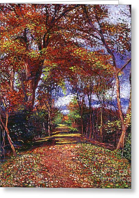 Most Greeting Cards - Autumn Leaf Road Greeting Card by David Lloyd Glover