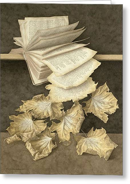 Book Greeting Cards - Autumn Leaves, 2005 Wc On Paper Greeting Card by Jonathan Wolstenholme